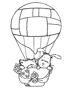 Hot Air Balloon Pals Wood Mount Stamp M1-7005J