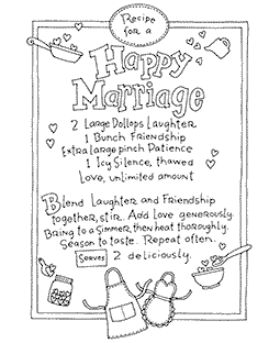 Marriage Recipe Wood Mount Stamp V4-10908V