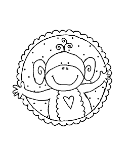 Monkey Circle Wood Mount Stamp H2-0032F