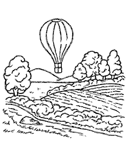 Nancy Baier Balloon Flight Wood Mount Stamp M2-10309J