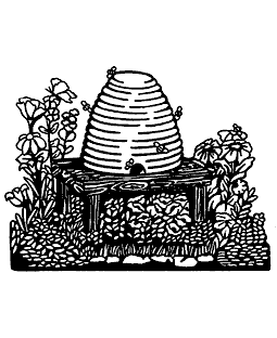 Beehive Scene Wood Mount Stamp K2-3461H