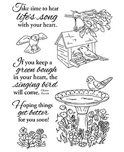 Nancy Baier Birdbath & Feeder Clear Stamp Set 11161MC