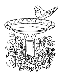 Birdbath Wood Mount Stamp K1-0643H