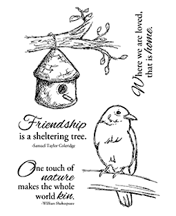 Nancy Baier Birdhouse & Bluebird Clear Stamp Set 11162MC