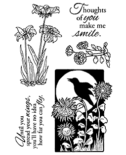Blackbird & Flowers Clear Stamp Set 11130MC