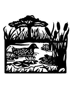 Duck Scene Wood Mount Stamp M2-4106J