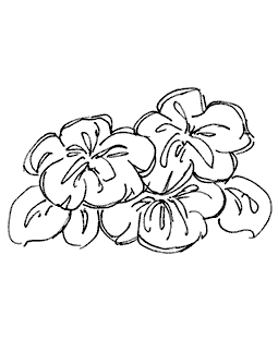 Floral Trio Wood Mount Stamp M3-0547J