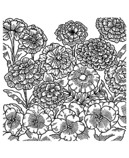Garden Flowers Background Cling Mount Stamp CLB-004