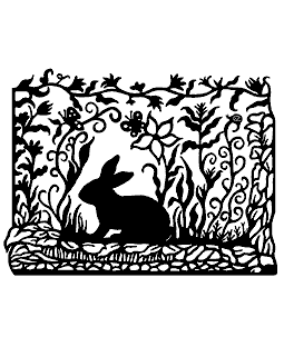 Rabbit Scene Wood Mount Stamp K2-3925H