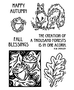 Squirrel & Acorns Clear Stamp Set 11200MC