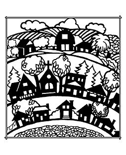 Town Scene Wood Mount Stamp M2-4516J