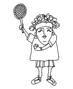 Tennis Tillie Wood Mount Stamp M1-0374J