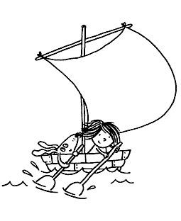 Boat Girl & Pup Cling Mount Stamp - ICL3-101