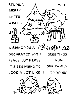 Christmas Decorating Penguin Clear Stamp Set - 11418MC