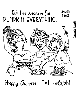 Pumpkin Treats Ladies Clear Stamp Set - 11379SC