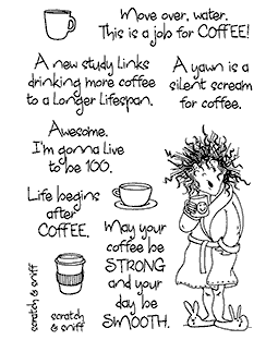 Yawning Coffee Lady Clear Stamp Set - 11381MC