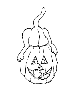Pumpkin Cat Wood Mount Stamp J2-12603F
