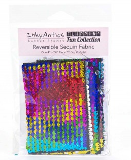 Reversible Sequin Fabric: Rainbow Hologram to Silver Hologram SQRH2SH
