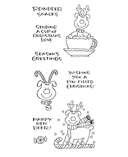 Ronnie Walter Candy Cane Reindeer Clear Stamp Set 10911LC