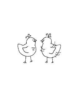 Two Chicks Wood Mount Stamp D2-10739D