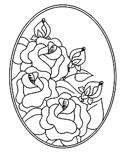 Rose Oval Wood Mount Stamp P1-2901K