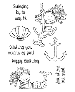 Anchor & Lounging Mermaids Clear Stamp Set 11248MC