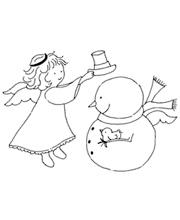 Angel Helping Snowy Wood Mount Stamp M3-0496J