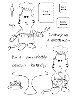 Tammy DeYoung Baking Kitty Clear Stamp Set 11047MC