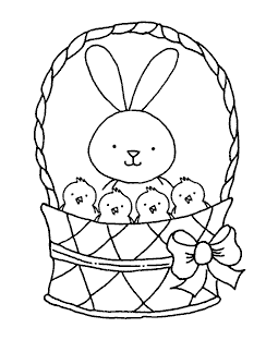 Bunny & Chicks Basket Wood Mount Stamp K1-9301H