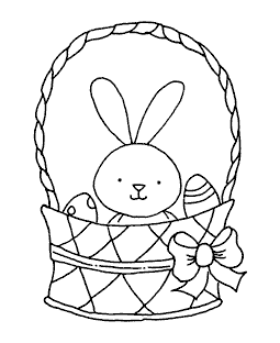 Bunny & Eggs Basket Wood Mount Stamp K1-9961H