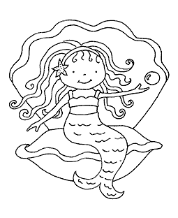 Clamshell Mermaid Wood Mount Stamp M5-5908J