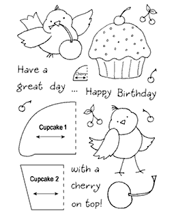 Cupcake Birdy Clear Stamp Set 11026MC