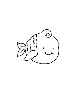 Round Fish Wood Mount Stamp E1-5801E