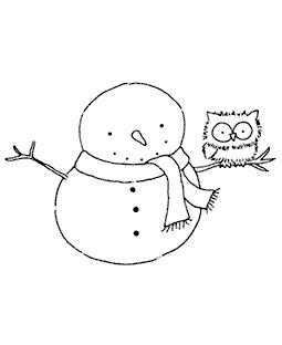 Snowy & Owl Wood Mount Stamp K2-0490H