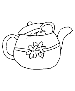 Teapot Mousie Wood Mount Stamp K5-0259H