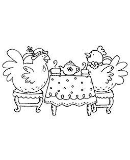 Teatime Chicks Wood Mount Stamp K3-10885H