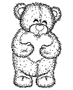 Heart Teddy Wood Mount Stamp M1-1151J