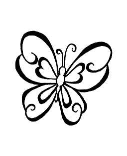 Large Swirly Butterfly Wood Mount Stamp H1-0612F
