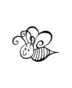 Left Swirly Bee Wood Mount Stamp E1-0549E