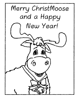Merry ChristMoose Wood Mount Stamp K2-5201H