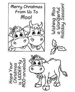 Punny Christmas Cows Clear Stamp Set 11125MC