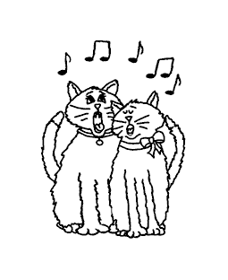 Singing Cats Wood Mount Stamp J1-10749G