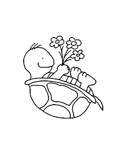 Turtle's Flowers Wood Mount Stamp H1-0780F
