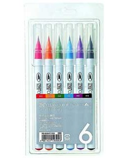 ZIG Clean Color Real Brush 6 Color Set - RB6000AT-6VA