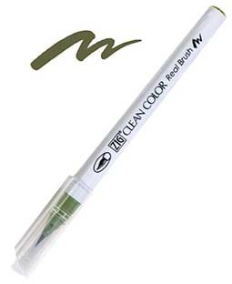 ZIG Clean Color Real Brush, Olive Green - RB6000AT-043