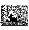Nancy Baier Rabbit Scene Wood Mount Stamp K2-3925H